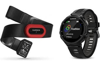 (Base Model, Single, Black/Gray) - Garmin Forerunner 735XT Bundle, Multisport GPS Running Watch with Heart Rate, Includes HRM-Run Monitor, Black/Grey
