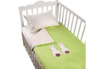 Tots by Smart Rike 280 203 Joy Bed Linen Set, 100% Cotton Satin Duvet Cover 100 x 135 cm and 1 Pillowcase 60 x 40 cm, Rabbit Green