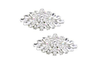 (Silver) - ElegantPark 2 Pcs Shoe Clips Double Layers Rhinestones Wedding Party Decoration