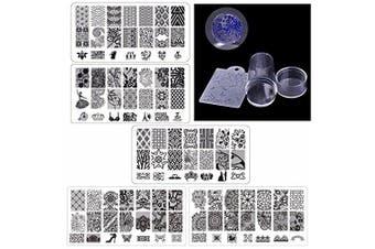 (5pcs) - Biutee 5pcs Nail Stamping Plates + 1 Stamper + 1 Scraper Lace Flower Animal Pattern Nail Art Stamp Stamping Template Image Plate Nail Art Stamper Scraper Nails Tool