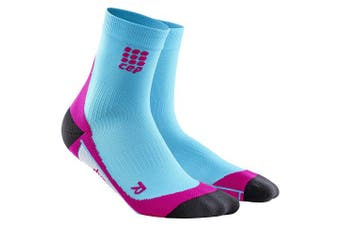 (Size II (Ankle Circumference: 7-20cm ), Hawaii Blue/Pink) - CEP Women's Dynamic+ Run Short Socks