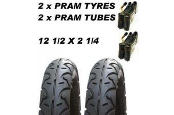 2 x Pram Tyres & 2 x Tubes 32cm X 5.7cm Slick MEE-GO PRAMETTE Nurse Dakar