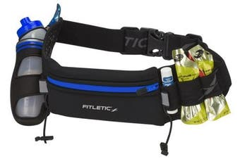 (Large, Black/Blue) - Fitletic Hydration Belt - HD12G Fully Loaded