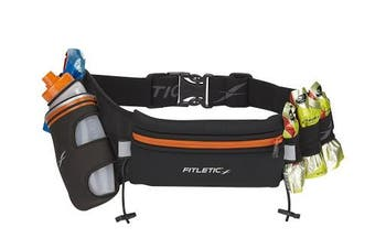 (Small, Black/Orange) - Fitletic Hydration Belt - HD12G Fully Loaded