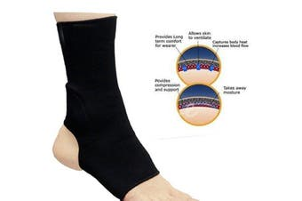 (X-Large) - RAD ELASTICATED NEOPRENE ANKLE FOOT BRACE SUPPORT PAIN INJURY RELIEF LEG & FOOT BLACK