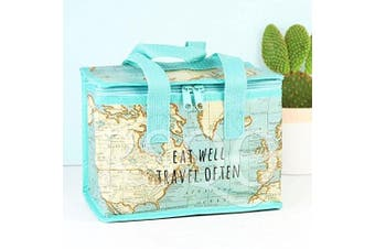 (1, Multi-colour) - Vintage Map Insulated Recycled Plastic Lunch Bag (Sass and Belle)