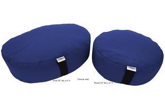 (36cm  Round, MEDIUM BLUE) - Bean Products Zafu Meditation Cushion - Yoga - Multiple Colours, Sizes and Fabrics - Organic Buckwheat Fill - Made in USA