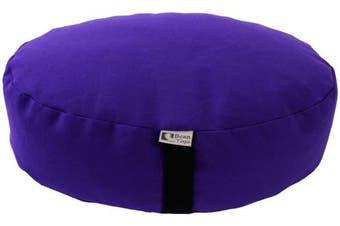 (36cm  Round, PURPLE) - Bean Products Zafu Meditation Cushion - Yoga - Multiple Colours, Sizes and Fabrics - Organic Buckwheat Fill - Made in USA