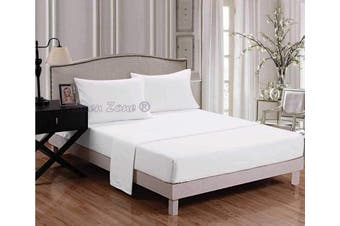 """(Double, White) - Extra Deep Fitted Sheets 16""""/40CM Deep Easy Care 18 Colours, Double - White"""