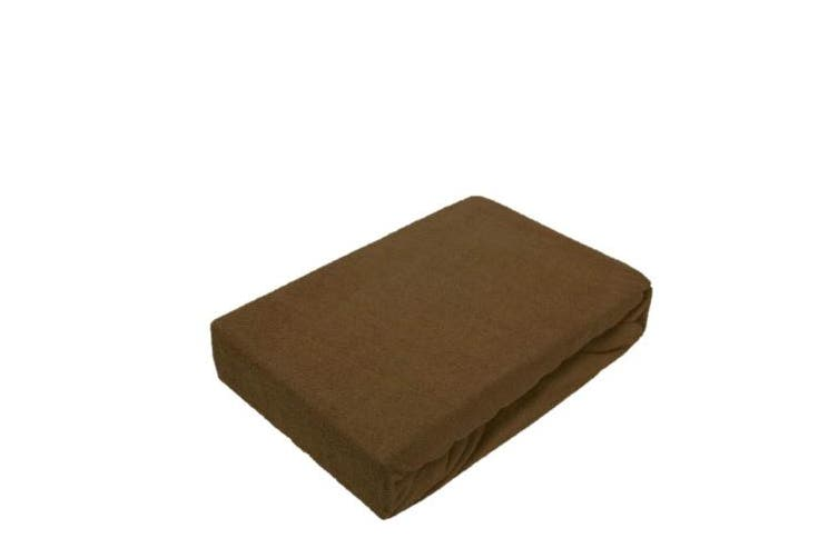 (90 - 100 x 200 cm, Chocolate Brown) - Terry fitted sheet with all-round elasticated hem, Terrycloth, chocolate brown, 90 - 100 x 200 cm