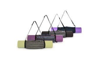 (Black) - Aurorae Yoga Mat Bag | Mat Sling Carrier | Large Outside Zip Closure Pocket