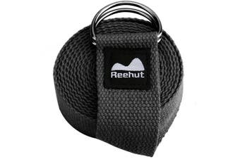 (2.4m, Black) - REEHUT Yoga Strap (1.8m, 2.4m, 3m) w/Adjustable D-Ring Buckle - Durable Polyester Cotton Exercise Straps for Stretching, General Fitness, Flexibility and Physical Therapy