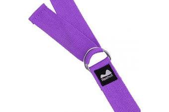 (2.4m, Purple) - REEHUT Yoga Strap (1.8m, 2.4m, 3m) w/Adjustable D-Ring Buckle - Durable Polyester Cotton Exercise Straps for Stretching, General Fitness, Flexibility and Physical Therapy