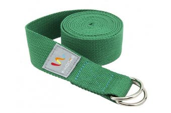 (2.4m, Green) - Wacces D-Ring Buckle Cotton Yoga Straps Bands - Best for Stretching