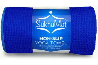 "(Dark Blue) - Hot Yoga Towel - SukhaMat Sticky Weave Mat-Sized Non Slip Yoga Towel, Ultra Absorbent, Fast Drying, Bikram / Ashtanga / Hot Yoga Towel - Durable Microfiber, 24"" x 180cm"