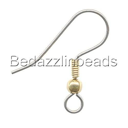 (Gold & Surgical Steel) - 50 Stainless Surgical Steel Ball & Coil Fishhook Hook Earring Findings With Loop (Gold & Surgical Steel) Colour: Gold & Surgical Steel These earwires arse 304 grade stainless steel with metal plating for the ball and coil. Each measures approximately 20mm (3/4 inch) top to bottom and the wire is 21 gauge. There is a loop at the bottom that does open so you can easily add charms or your own unique dangle designs.