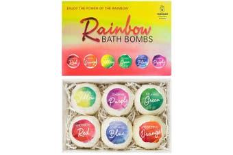 "BRUBAKER Bath Bombs Gift Set ""Rainbow"" - 6 Handmade Luxury Spa Bath Fizzies - All Natural, Vegan, Organic Ingredients - Sesame Oil Moisturises Dry Skin"
