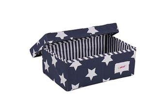 (Storage Box, Small) - Minene Small Foldable Fabric Storage Box L32xW21xH12cmLinen Cosmetic Stationery Organiser with Flowers Star Storage (Blue & White Stars)