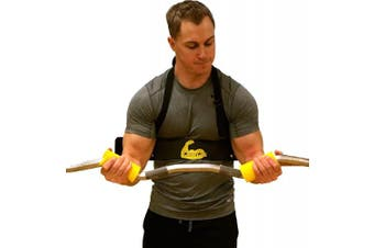 (Yellow) - Core Prodigy Cannon Curl Arm Blaster with Fit Grips - Removable Silicone Fat Bar Grips