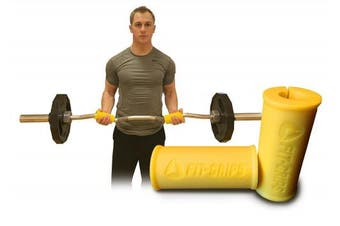 (Yellow) - Core Prodigy Fit Grips 2.0 Fat Thick Bar Weight Lifting Big Grips