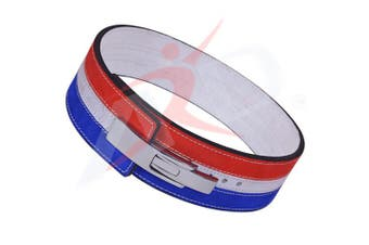 (XX-Large) - ARD CHAMPS 10MM Weight Power Lifting Leather Lever Pro Belt Gym Training Red,White & Blue