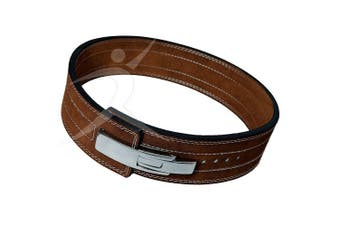 (X-Large) - ARD CHAMPS10MM Weight Power Lifting Leather Lever Pro Belt Gym Training Brown