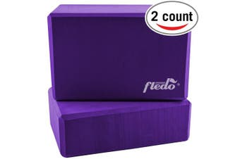 "(Purple) - Fledo Yoga Blocks (Set of 2) 23cm x 15cm x 4"" - EVA Foam Brick, Featherweight and Comfy - Provides Stability and Balance - Ideal for Exercise, Pilates, Workout, Fitness & Gym"