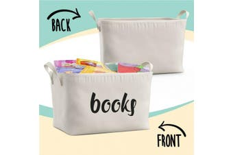 (Books) - Fawn Hill Co Books Storage Box Basket for Baby, Kids or Pets - Storage Bins (Books)