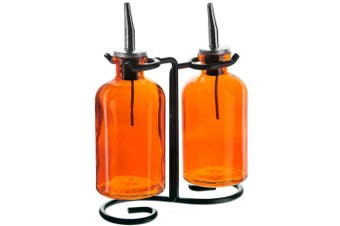 (Orange) - Couronne Company 3 Piece Apothecary Double Oil and Vinegar Glass Cruet Set with Stand, 20cm Tall, Orange