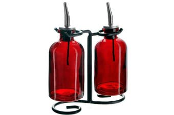 (Red) - Couronne Company 3 Piece Apothecary Double Oil and Vinegar Glass Cruet Set with Stand, 20cm Tall, Red