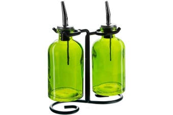 (Lime) - Couronne Company 3 Piece Apothecary Double Oil and Vinegar Glass Cruet Set with Stand, 20cm Tall, Lime