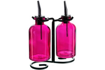 (Fuchsia) - Couronne Company 3 Piece Apothecary Double Oil and Vinegar Glass Cruet Set with Stand, 20cm Tall, Fuchsia