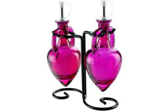 (Fuchsia) - Couronne Company 3 Piece Amphora Double Oil and Vinegar Glass Cruet Set with Stand, 20cm Tall, Fuchsia