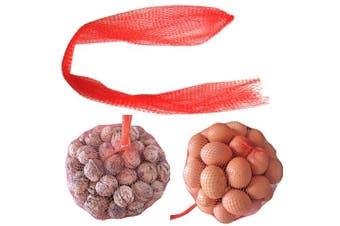 (150) - SZTARA 150Pcs Fruits Mesh Bag Reusable Kitchen Vegetables Eggs Storage Produce Drawstring Carry Bag Red