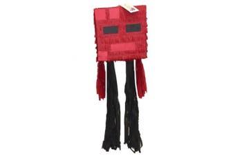 Red Mining Boy Cube Head Pinata Video Game PartyFavor