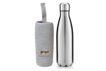 (Matte Pattern - Silver) - A Lazy Dog Vacuum Insulated Water Bottle 500ml Double Walled Stainless Steel Cola Shape Water Bottle Outdoor Sports