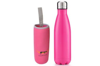 (Matte Pattern - Rose) - A Lazy Dog Vacuum Insulated Water Bottle 500ml Double Walled Stainless Steel Cola Shape Water Bottle Outdoor Sports