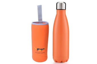 (Matte Pattern - Orange) - A Lazy Dog Vacuum Insulated Water Bottle 500ml Double Walled Stainless Steel Cola Shape Water Bottle Outdoor Sports
