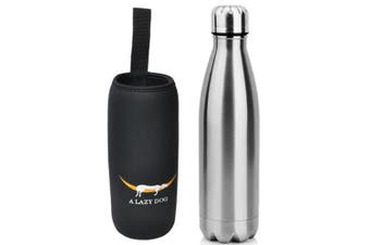 (Polish Pattern - Silver) - A Lazy Dog Vacuum Insulated Water Bottle 500ml Double Walled Stainless Steel Cola Shape Water Bottle Outdoor Sports