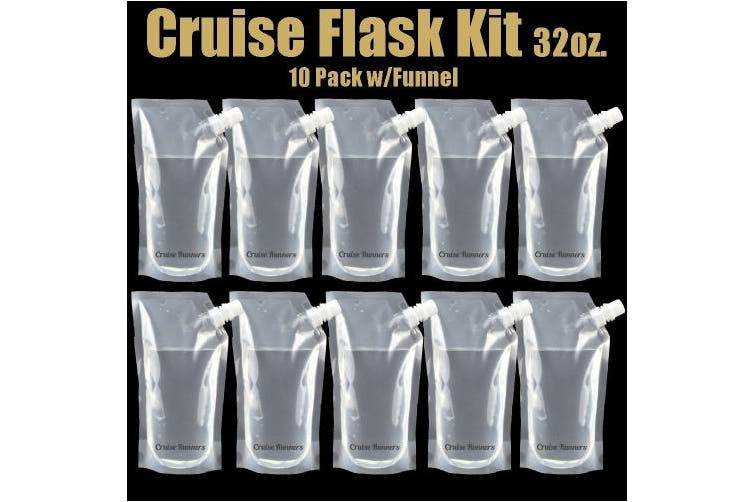 CRUISE RUNNERS® Brand Ship Kit Flask 10 950ml Sneak Alcohol Runner Rum Liquor Smuggle Booze Runners 10 x 950ml