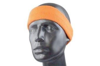 (One Size, neon orange) - Head band / Sweat Band in 11 colours | black/white/red/blue/navy/neon orange/green/limegreen/grey/pink/lightblue