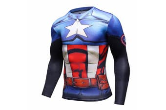 (Blue Captain, X-Large) - Cody Lundin Man's Movie Theme Print American Hero Running Sport Compression T-shirt Exercise Longsleeve Top
