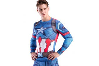 (American Leader, Large) - Cody Lundin Man's Movie Theme Print American Hero Running Sport Compression T-shirt Exercise Longsleeve Top
