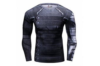 (Winter Army, Large) - Cody Lundin Man's Movie Theme Print American Hero Running Sport Compression T-shirt Exercise Longsleeve Top