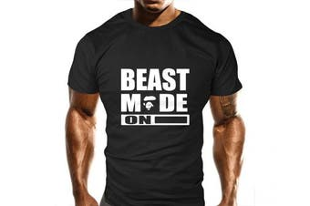 (Medium) - New Mens Beast Mode On Ape Gym T-Shirt - Training Top - Sports - Bodybuilding Casual Loose Fit Top