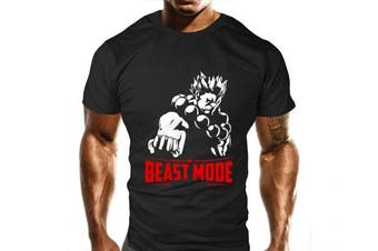 (Large) - New Akuma Beast Mode Gym T-Shirt - Training Top - Sports - Bodybuilding Casual Loose Fit Top