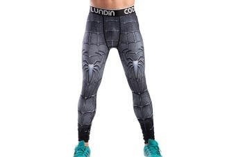 (Black Spider, Medium) - Cody Lundin Men's Sports Fitness Tights Compression Leggings Running Training Trouser