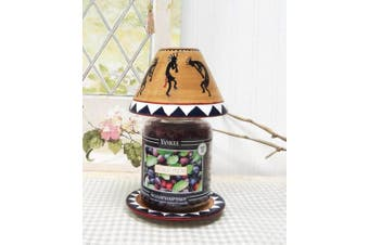 (Candle Jar Holder) - Western Kokopeli Hand Painted Ceramic Collection (CANDLE JAR HOLDER SET)