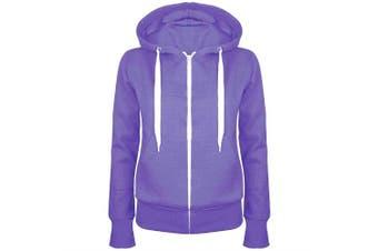 (UK 6 (X-Small), Purple Marl) - Be Jealous Plain Hoody Girls Zip Womens Sweatshirt Hoodies Jacket Top Plus
