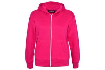 (9-10 Years, Pink) - A2Z 4 Kids® Kids Girls & Boys Unisex Plain Fleece Hoodie Zip Up Style Zipper Age 5 6 7 8 9 10 11 121 3 Years